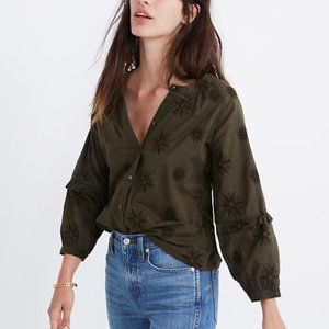 Madewell Embroidered Statement Sleeve Blouse